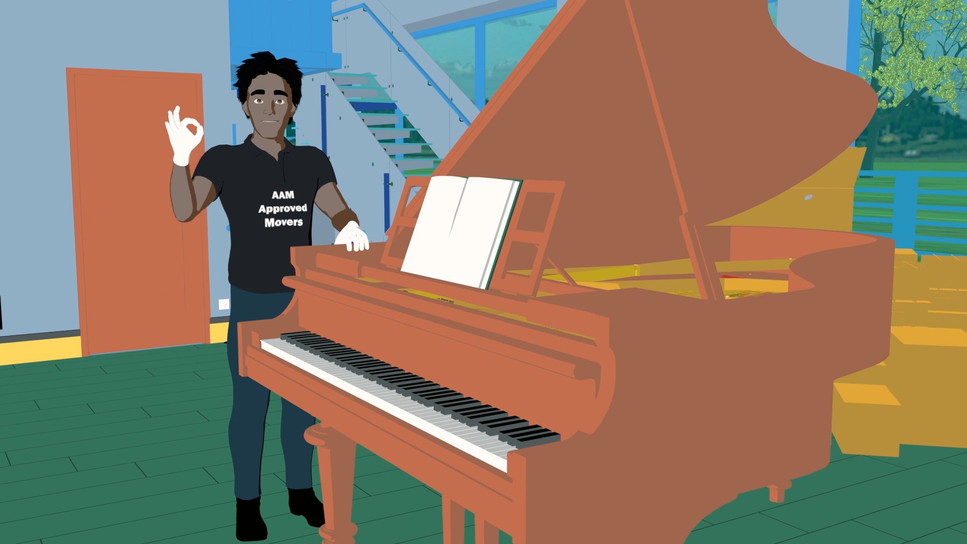 mover standing with piano